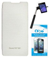 TBZ Flip Cover Case For Micromax Canvas Nitro A310 With Selfie Stick Monopod With Aux And Tempered Screen Guard -White