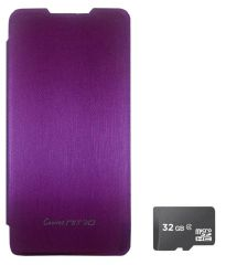 TBZ Flip Cover Case For Micromax Canvas Nitro A310? With 32GB MicroSD-Purple