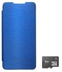 TBZ Flip Cover Case For Micromax Canvas Nitro A310 With 8GB MicroSD -Blue