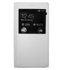 TBZ Premium Leather Window Flip Cover Case For Samsung Galaxy On5 -White