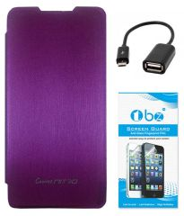 TBZ Flip Cover Case For Micromax Canvas Nitro A310 With OTG Cable And Screen Guard -Purple