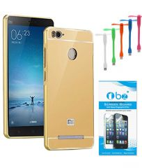 TBZ Metal Bumper Acrylic Mirror Back Cover Case for Xiaomi Redmi 3S with USB Flexible Fan and Tempered Screen Guard - Golden