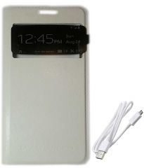 TBZ Premium Leather Window Flip Cover Case for Samsung Galaxy Grand Prime G530H with Data Cable -White