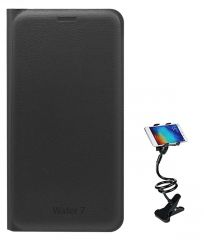 TBZ PU Leather Flip Cover Case for Lyf Water 7 with Flexible Tablet/Phone Holder Lazy Stand - Black