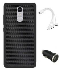 TBZ Rubberised Black Net/Jali Back Cover Case for Xiaomi Redmi Note 4 with Car Charger and 5 in 1 Multi charging USB Cable