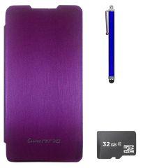 TBZ Flip Cover Case For Micromax Canvas Nitro A310? With 32GB MicroSD And Stylus -Purple