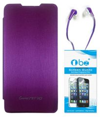 TBZ Flip Cover Case For Micromax Canvas Nitro A310 With Earphone And Tempered Screen Guard -Purple