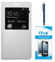 TBZ Premium Leather Window Flip Cover Case For Samsung Galaxy On5 With Stylus Pen And Tempered Screen Guard -White