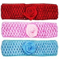 Crochet Cutwork Flower Baby Headband (Pink , Red , Blue) 3 Pcs Set (Code - HB046)
