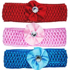 Crochet Cutwork Flower Baby Headband ( Pink , Red , Blue ) 3 Pcs Set (Code - HB041)