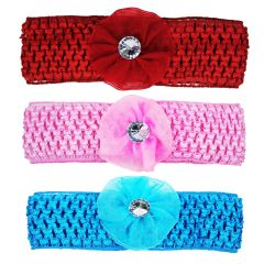 Crochet Cutwork Flower Baby Headband (Pink , Red , Blue) 3 Pcs (Code - Set HB037)