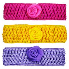 Crochet Cutwork Flower Baby Headband (Pink , Yellow , Purple) 3 Pcs Set (Code - HB045)