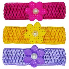 Crochet Cutwork Flower Baby Headband (Pink , Yellow , Purple) 3 Pcs (Code - Set HB040)