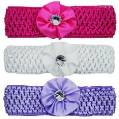 Crochet Cutwork Flower Baby Headband (Pink , White , Purple) 3 Pcs Set (Code - HB042)