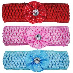 Crochet Cutwork Flower Baby Headband (Pink , Red , Blue) 3 Pcs Set (Code - HB044)