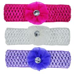 Crochet Cutwork Flower Baby Headband (Pink , White , Purple) 3 Pcs (Code - Set HB038)