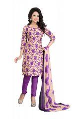 Women's Clothing - Dhruti Creation Purple Colour Poly Cotton Printed Unstitched (code - Dcdm_khyatipurple)