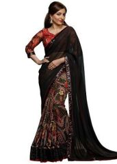 Black Georgette Embroidered Saree With Blouse Piece