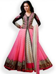 Fabliva Latest Heavy Embroidered Designer Pink Anarkali Suits