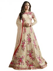 Touch Trends Anarkali Suits (Unstitched) - Touch Trends Cream Color Raw Silk Anarkali Suits 97002