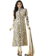 Dress Materials (Singles) - Fabliva Cream & Black Printed Pollycotton Dress Material Fdm126-2511