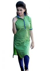 "Aracruz Women""s Designer Party Wear Printed Green Cotton Kurti - Green Kurti1"