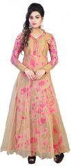 The Core Fashion Cream Net And Bhagalpuri Silk Printed Designer Gown Df-2