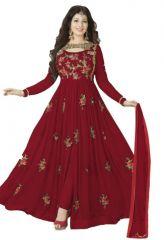 Thankar Maroon & Multi Embroidered Georgette Anarkali Suit Tas433-1419