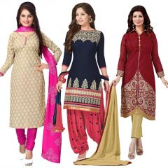 Dress Materials - Buy One Get Two Free Crepe Unstitched Salwar Suit Prlt2010-11-12