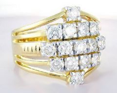 Diamond Jewellery - Sheetal Impex 1.10 Cts Real Natural Diamond Men's Ring In 14 Kt Yellow Gold R00377