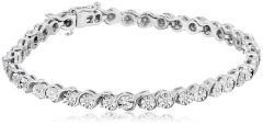 Sheetal Impex Certified 3.64 Ctw Real Natural Brilliant Cut I2 Clarity Diamonds 925 Silver Tennis Bracelet - B00040