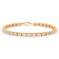 Sheetal Impex Certified 1.98 Ctw Real Natural Round Cut SI2 Clarity Diamonds 14Kt Yellow Gold Tennis Bracelet - B00054