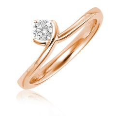 Sheetal Impex Certified 0.50 Carat Real Natural Round Cut SI2 Clarity Diamond 14Kt Rose Gold Ring - R00392
