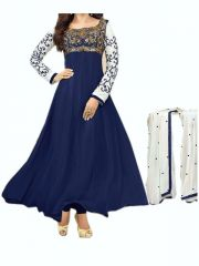 Women's Blue Net Raw Silk Anarkali Dress Salwar Suit Ufs1052