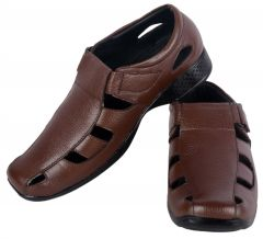 George Adam mens all leather Sandal (Code - 074 brown)