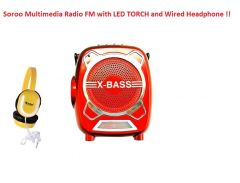 Soroo X-Bass Rechargeable Multimedia FM Radio with LED Torch/USB/SD card Slot/Headphone & AUX Jack