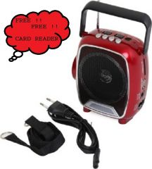 SoRoo Rechargable Multimedia FM Radio Speaker with USB and Torch - Sparkling Red FM Radio (Red)