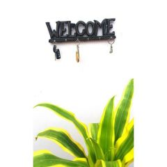 Onlineshoppee Wooden Antique Welcome Shaped Key Holder With 6 Hooks AFR1182