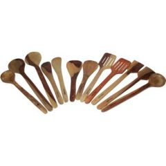Onlineshoppee Wooden 2 Bouillon, 2 Strainer Spoons,2 Slotted Spoon,2 Butter Spoon,2 Rice Spoon,2 Scrapper