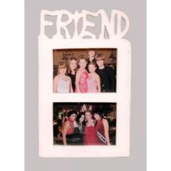 Photo Frames - Onlineshoppee Wooden and Antique Wall Hanging FRIEND Collage Photo Frame Colour White AFR1439