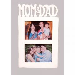 Onlineshoppee Wooden And Antique Wall Hanging MOM & DAD Collage Photo Frame Colour White AFR1443