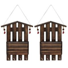 Onlineshoppee Wooden Antique Wall Decor Letter & Key Holder Pack Of 2 AFR2009