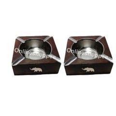 Ashtrays - Onlineshoppee Wooden Antique Ashtray,Pack Of 2 AFR2047