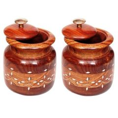 Onlineshoppee Wooden Tea Coffee Sugar Bowls With Brass Work For Home & Kitchen Size-LxBxH-3x3x4.5 Inch,Pack Of 2 AFR2066