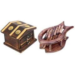 Onlineshoppee Traditional Coaster Set Hut With Antique Design,Pack Of 2 AFR2240
