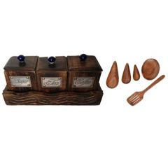 Onlineshoppee Three Container Set With Wooden Tray,With 5 Cooking Spoon,Pack Of 9 AFR2277