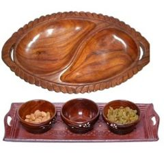 Onlineshoppee Wooden Handmade 3 Dry Fruit bowl & 1 Serving Tray, & Wooden Dry Fruits Tray Leaf Design AFR2296