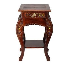 Onlineshoppee Home Decor & Furnishing - Onlineshoppee Wooden Hand Carved Side Table, Stool AFR304