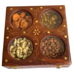 Onlineshoppee Kitchen Utilities (Misc) - Onlineshoppee Wooden Dry Fruit Box with 4 Steel Bowls AFR315