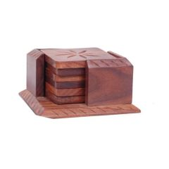 Onlineshoppee Wooden Tea Coaster With 6 Plates In Carving Design Size (LxBxH-4x4x2.5) Inch AFR913